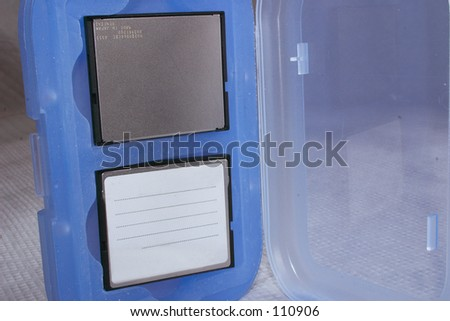 compact flash cards in a case - stock photo