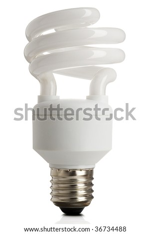 compact fluorescent energy saving lightbulb on white with clipping path - stock photo