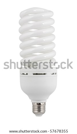 Compact fluorescent lamp. Close-up. Isolated on white with path included - stock photo