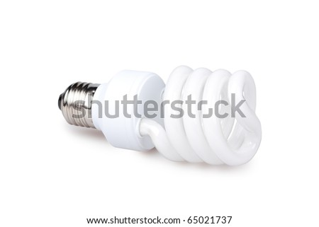 Compact fluorescent Lamp,  isolated on white - stock photo