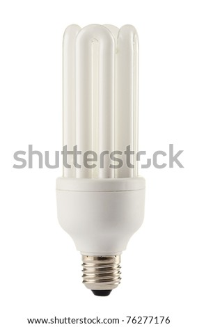 Compact fluorescent lamp isolated on white. Energy saving light bulb - stock photo