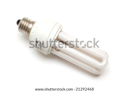 Compact fluorescent lamp on white background - stock photo