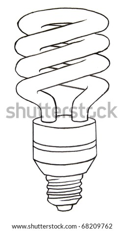 compact fluorescent lamp sketch - stock photo
