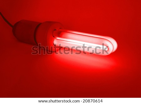 Compact fluorescent light bulb ecological low carbon - Red light
