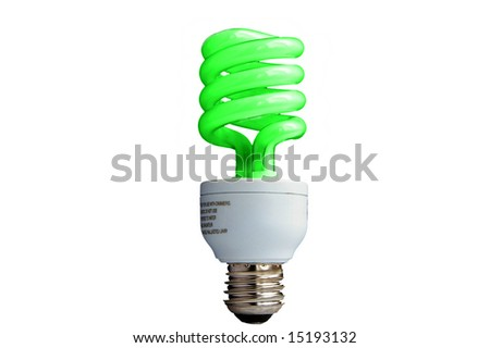 Compact Fluorescent light bulb green, isolated on white
