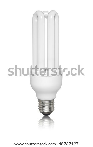 Compact fluorescent light bulb isolated over white background. Small reflection of the bottom. - stock photo