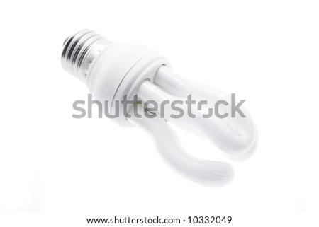 Compact Fluorescent Light Bulb on White Background