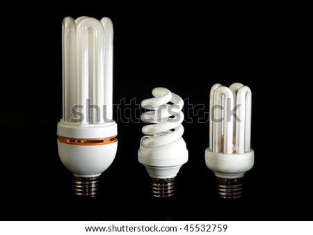 Compact fluorescent light bulbs isolated on black background