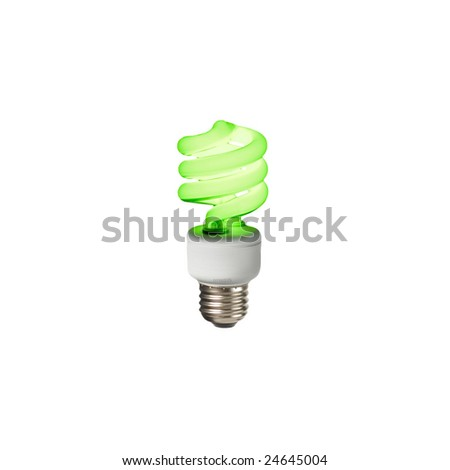Compact fluorescent lightbulb glowing green on a white background.