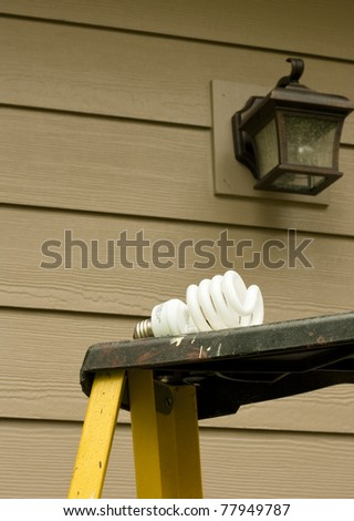 compact fluorescent lightbulb on a ladder ready to install to save energy - stock photo