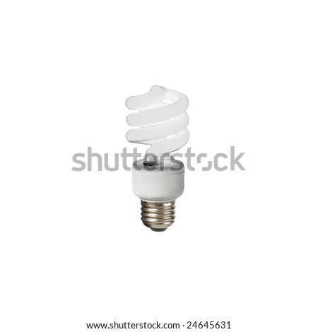 Compact fluorescent lightbulb on a white background.