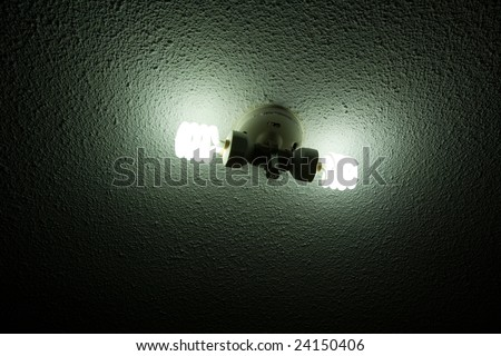 Compact Fluorescent Lightbulb on the ceiling