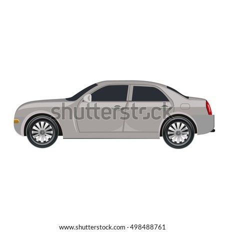 Compact four door car isolated on white, prototype