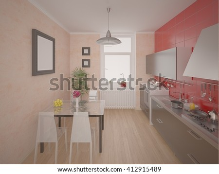 Compact modern kitchen, 3d rendering. - stock photo