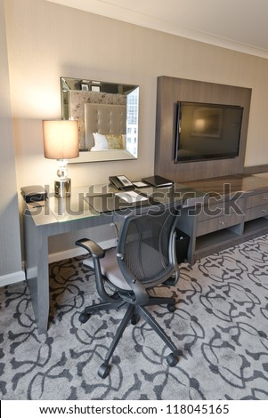 Compact modern office interior in the luxury five stars hotel. Vancouver, Canada. - stock photo