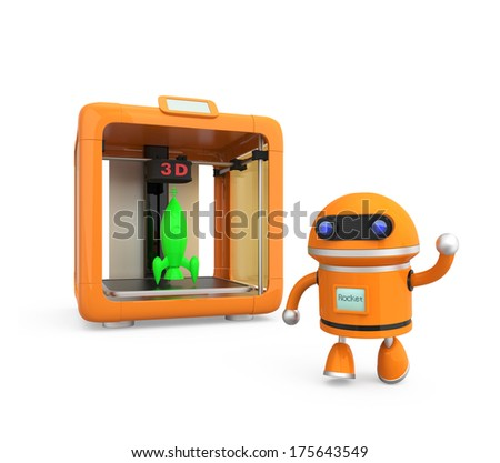 Compact personal 3D printer and 3D models - stock photo