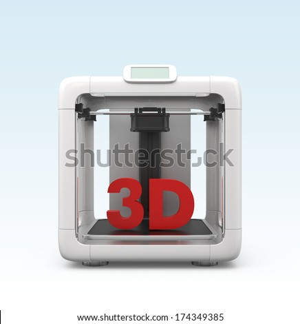 Compact personal 3D printer. Original design. - stock photo
