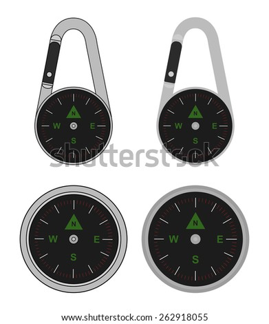 Compact portable pocket travel steel compass on carabiner. Raster clip art illustration isolated on white - stock photo