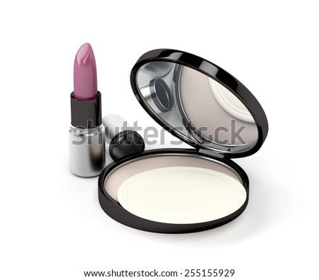 Compact powder, powder puff and purple lipstick - stock photo