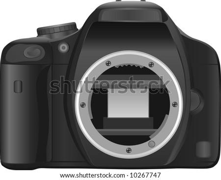 compact semi professional digital SLR (DSLR) camera - stock photo