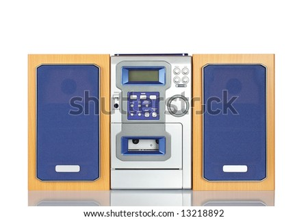 Compact sound system stereo with CD, tape and tuner reflected on white background - stock photo