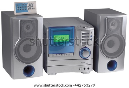 compact stereo radio player system cd sound audio tuner - stock photo