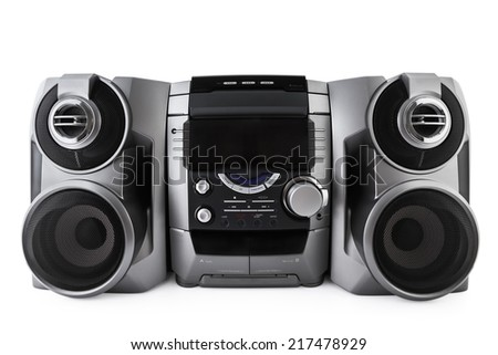 Compact stereo system cd and cassette player isolated with clipping path - stock photo
