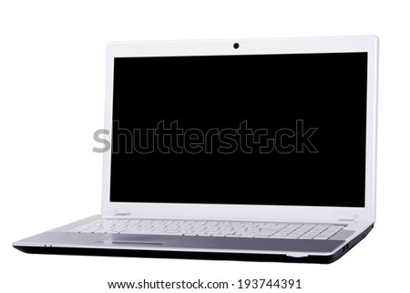 compact white laptop with black screen isolated on white background - stock photo