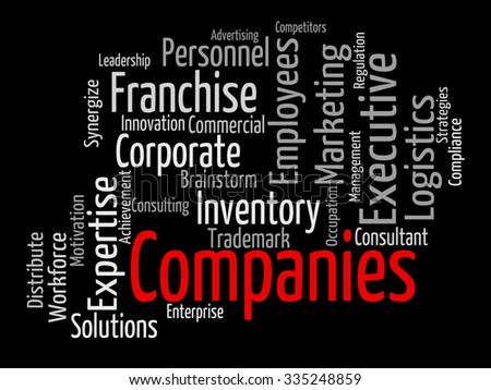 Companies Word Showing Business Corporate And Commerce