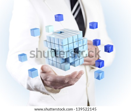 company formation concept. Global organization development and training of cubes - stock photo