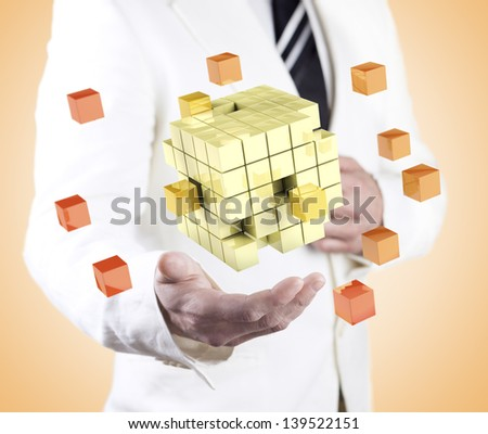 company formation concept. Global organization development and training of cubes