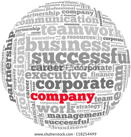 Company info-text graphics and arrangement concept on white background (word cloud) - stock photo