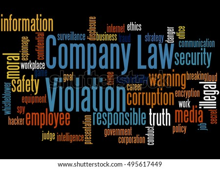 Company Law Violation, word cloud concept on black background.