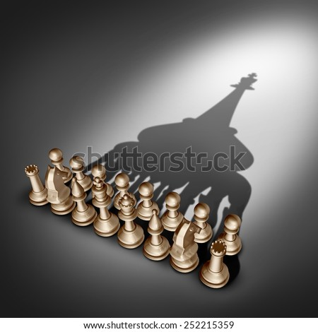 Company leadership and team management vision as a business group concept with chess set pieces joining and working together united and as one in agreement to cast a shadow shaped as  a king leader. - stock photo
