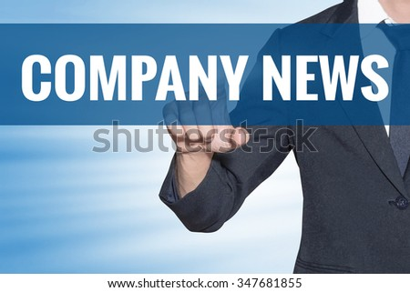 Company News word Business man touching on blue virtual screen - stock photo