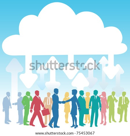 Company people doing business in IT cloud computing environment - stock photo