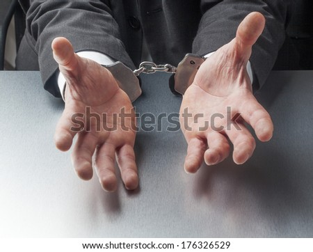 company punishment with handcuffs symbol - stock photo