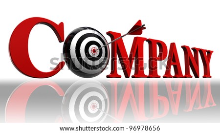 company red word and conceptual target with arrow on white background. clipping path included