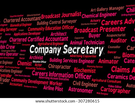 Company Secretary Indicating Clerical Assistant And Companies - stock photo