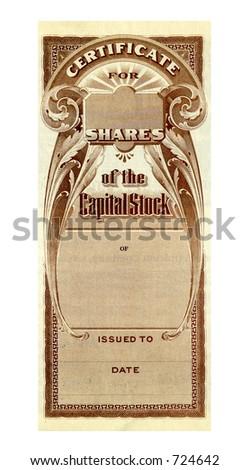 Company Stock Certificate - stock photo