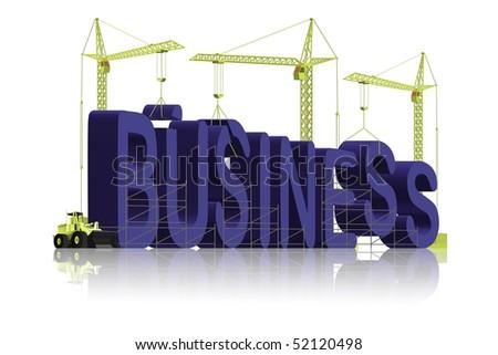 company, tower cranes constructing 3d word - stock photo
