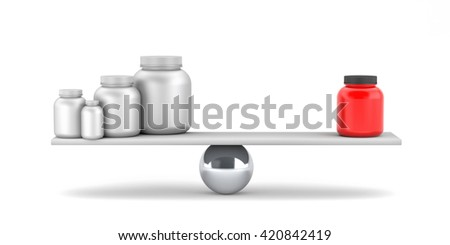 Compare supplements or drugs. 3d illustration - stock photo