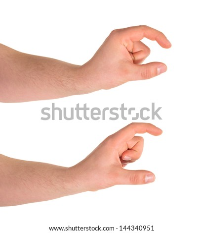 Comparing tiny and bigger sign, caucasian hand gesture isolated over white background, set of two foreshortenings - stock photo