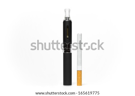 Comparison between a conventional and an electronic cigarette - stock photo