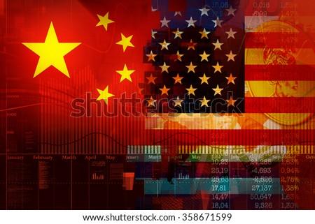Comparison exchange charts the USA and China. - stock photo