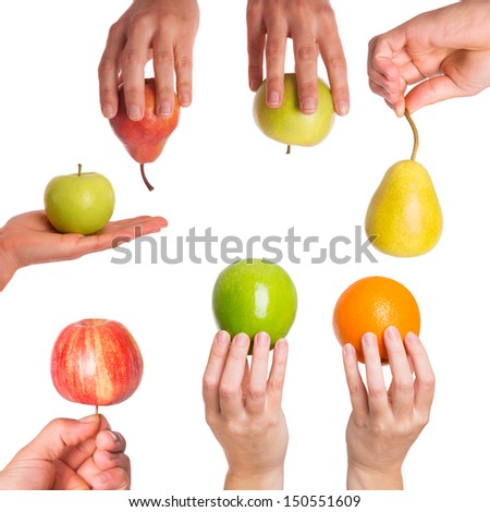 Comparison in between apples, oranges, pears - stock photo