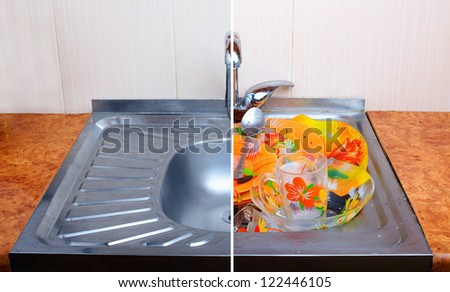 comparison of clean sink with full of dirty dishware one - stock photo