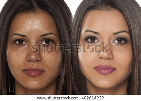 Comparison portrait of a exotic beautiful woman without and with makeup - stock photo