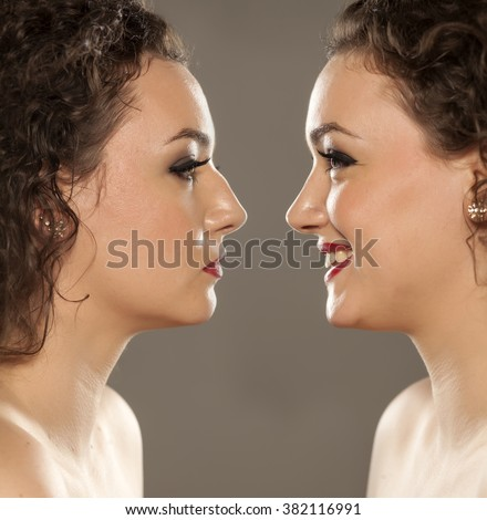 comparison portrait of a woman  before and after nose correction - stock photo