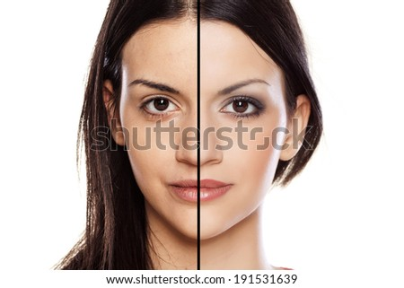 Comparison side by side portrait of a girl without and with makeup - stock photo